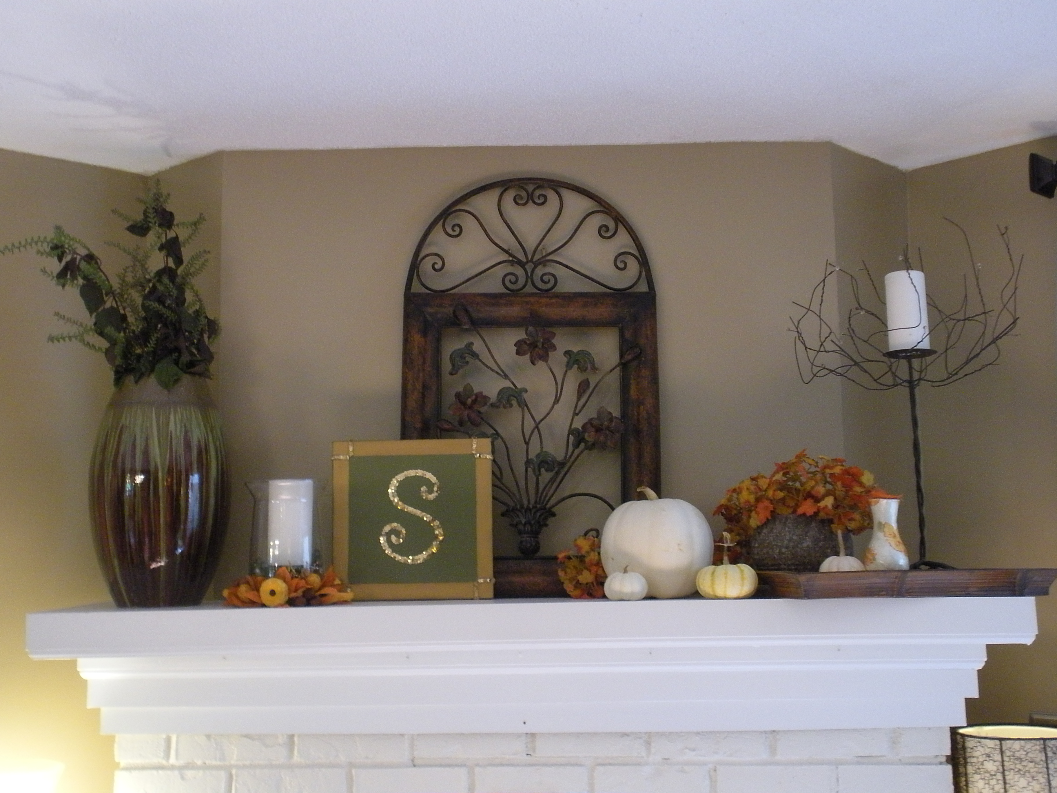 Fall Mantel White Pumpkins – Simple Mantel Decor