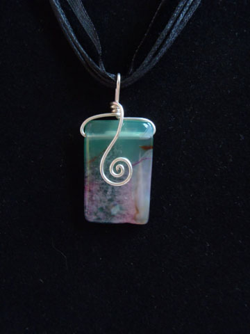 Pink and Green AGate Wire Wrapped Pendant