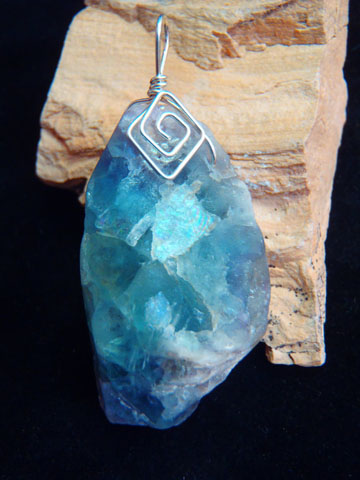 natural rainbow fluorite pendant