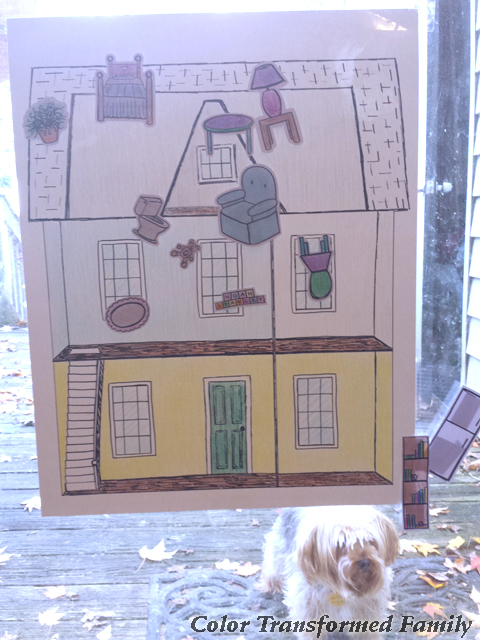 Dollhouse Birthday Ideas: Pin the Furniture on the House