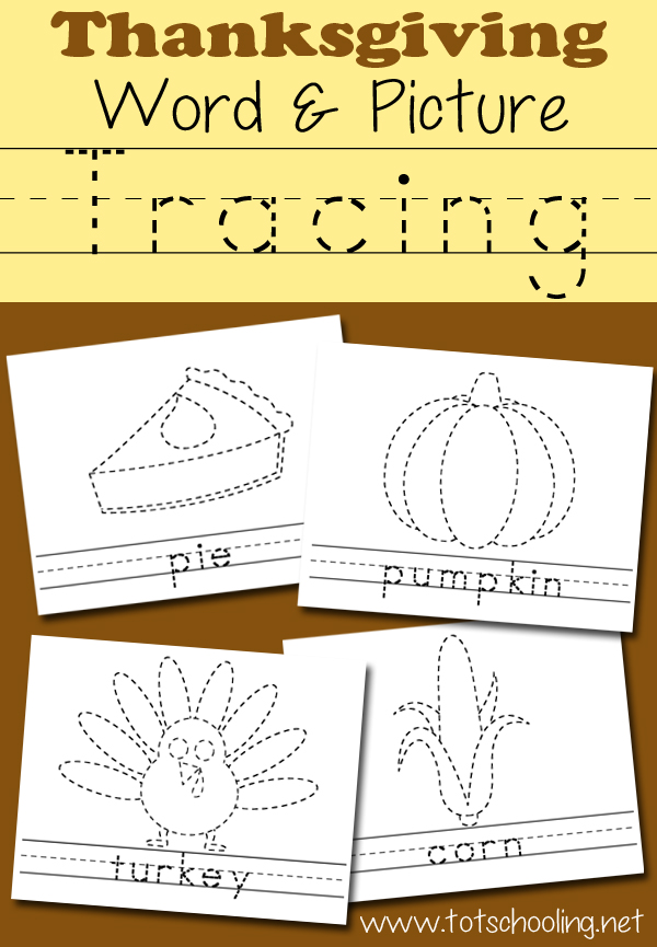 Thanksgiving word and picture traceable
